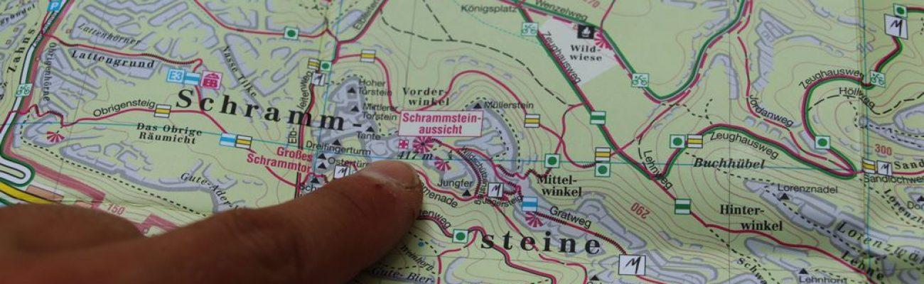 Karte vom Malerweg zur Schrammsteinaussicht