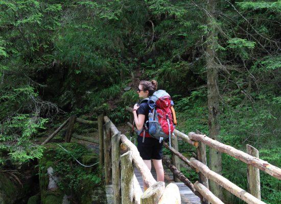 Frau Locke auf der Brücke des MeranerHöhenweg